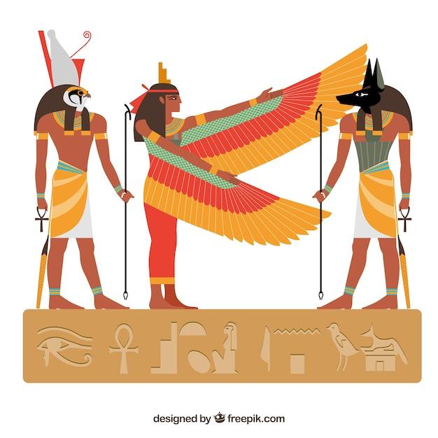 フラットデザインのエジプトの神々とシンボルコレクション 無料ベクター