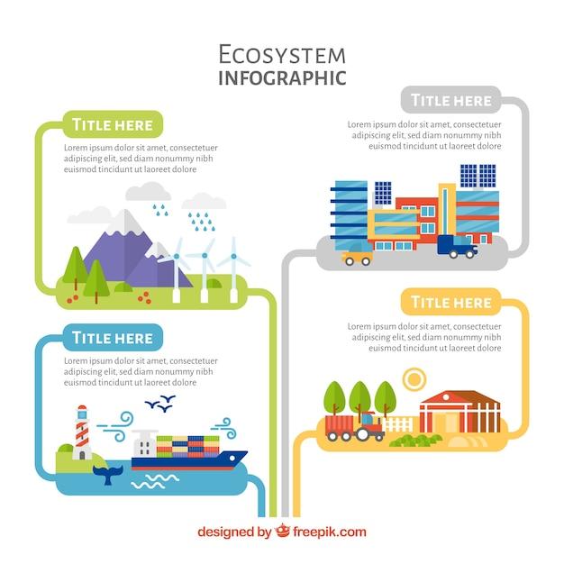 生態系のインフォグラフィックス 無料ベクター
