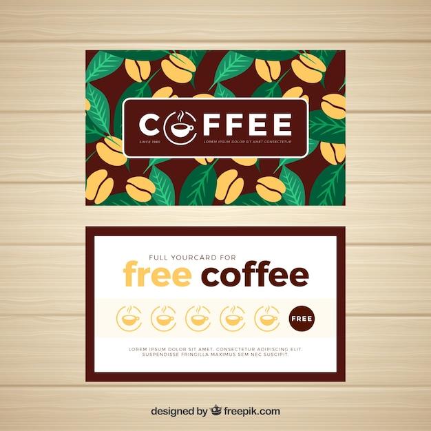 エレガントなコーヒーショップのロイヤリティカードテンプレート 無料ベクター