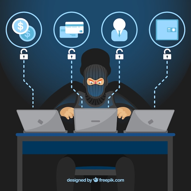 Анонимный хакер с плоским дизайном Бесплатные векторы