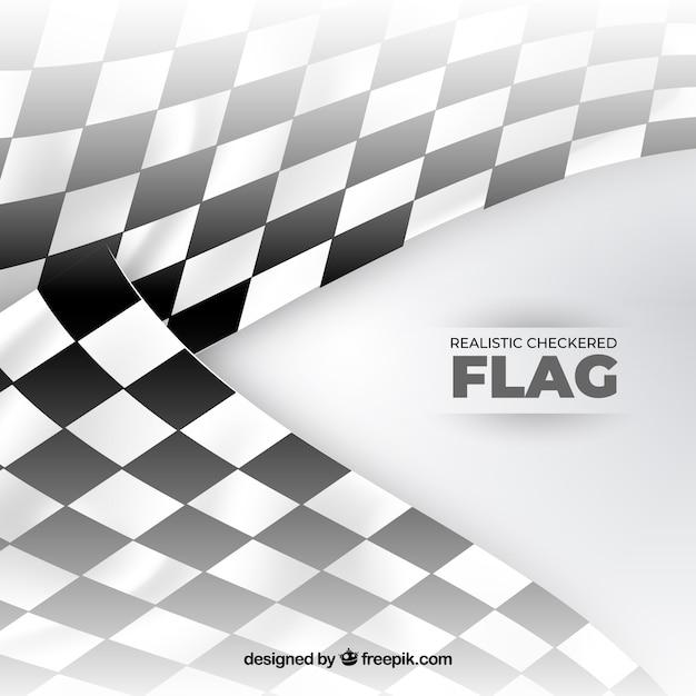 現実的なデザインのレースチェッカーフラッグ 無料ベクター