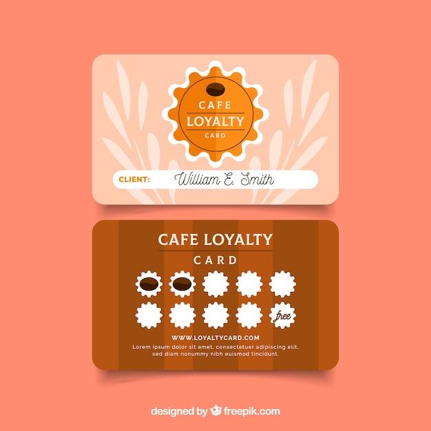 Шаблон карточки лояльности для кафе с современным стилем Бесплатные векторы