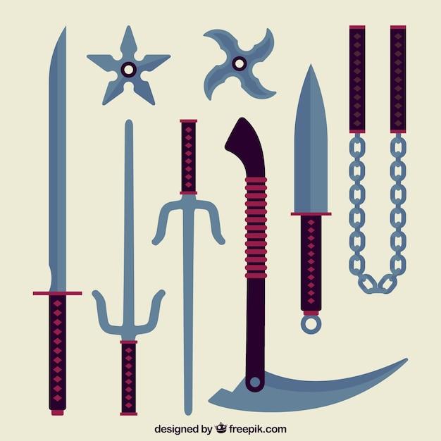 フラットデザインの伝統的な忍者要素コレクション 無料ベクター