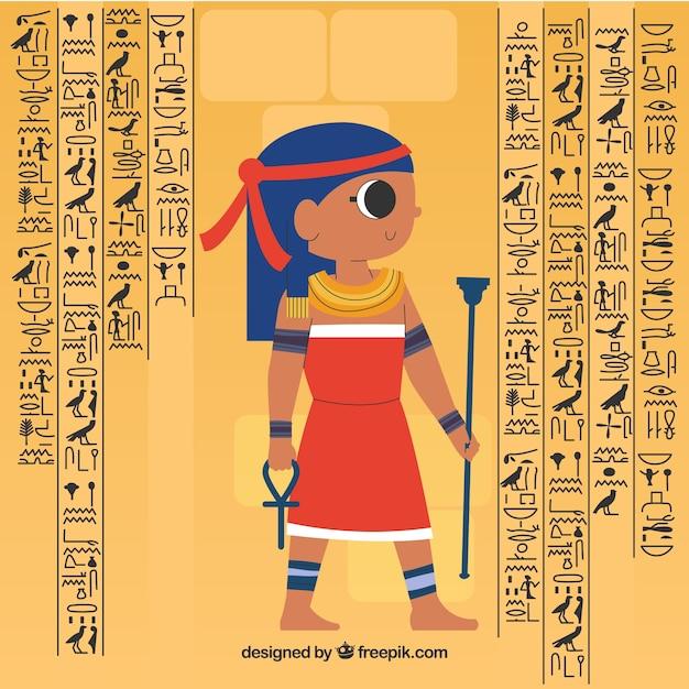 フラットデザインのエジプトの象形文字の背景 無料ベクター