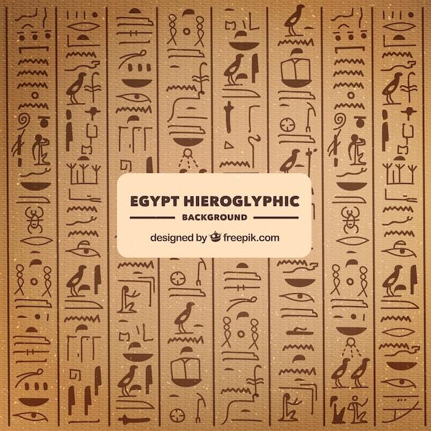 手描きのエジプトの象形文字背景 無料ベクター