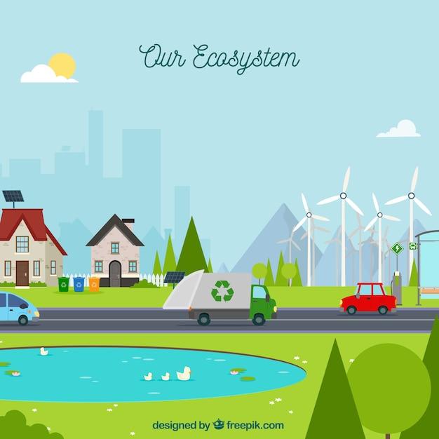 Концепция экосистемы с мусоровоз Бесплатные векторы