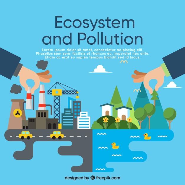 Концепция экосистемы и загрязнения в плоском стиле Бесплатные векторы