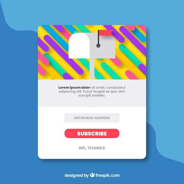 フラットデザインのカラフルな定期購読ポップアップ 無料ベクター