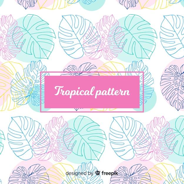 カラフルな手は熱帯のパターンを 無料ベクター