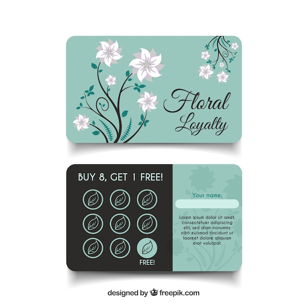 花のスタイルと素敵なロイヤリティカードのテンプレート 無料ベクター
