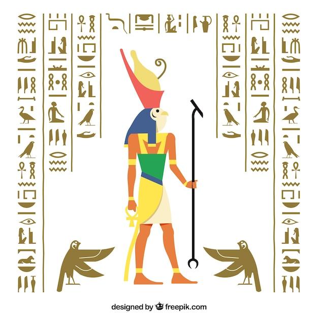 Египетский иероглифический фон с плоским дизайном Бесплатные векторы