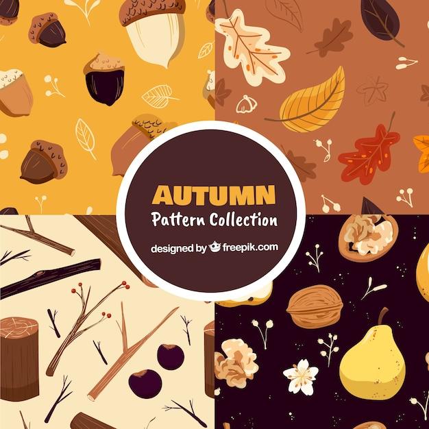 要素フリーベクトルと秋のパターンのコレクション 無料ベクター