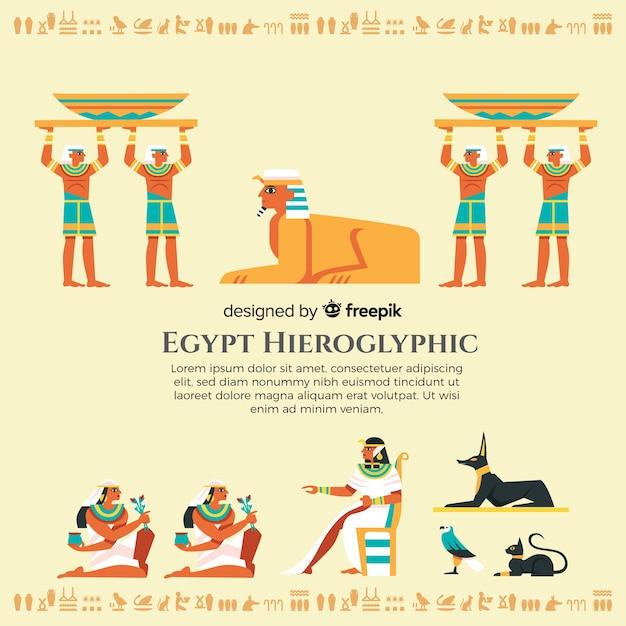 Рисованный египетский иероглифический фон Бесплатные векторы