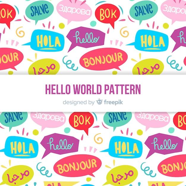異なる言語のハローワードパターン 無料ベクター