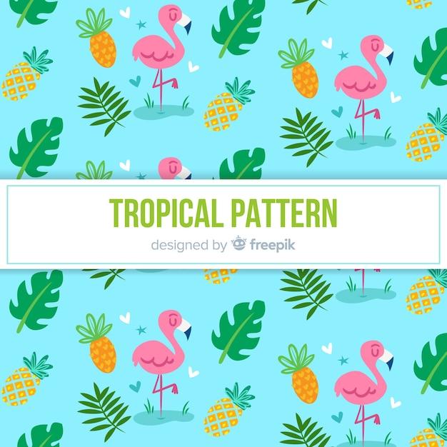 フラミンゴとパイナップルのカラフルな熱帯の柄 無料ベクター