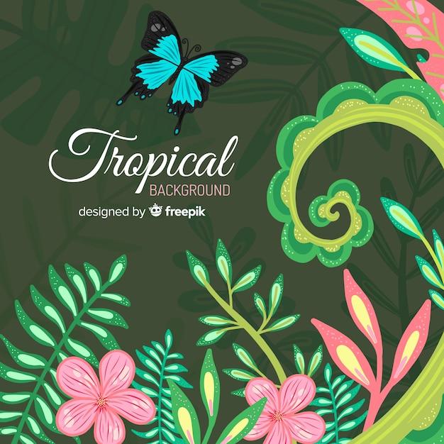 葉と花のカラフルな熱帯の背景 無料ベクター