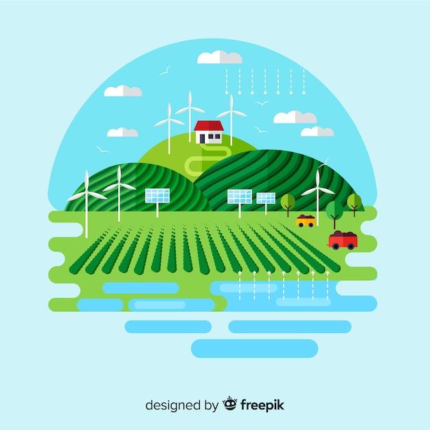 持続可能な開発と生態系コンセプト 無料ベクター