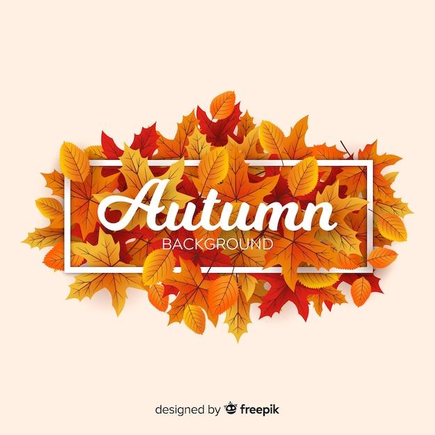 メッセージとタイポグラフィのある秋の背景 無料ベクター