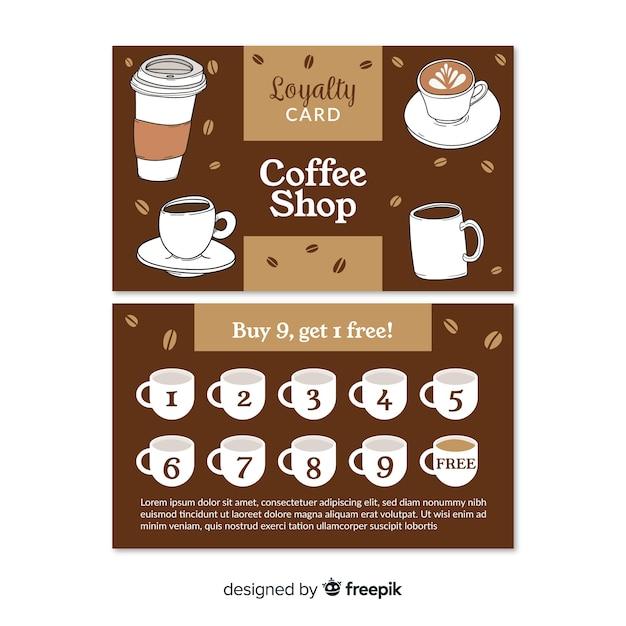 Симпатичный шаблон карты лояльности для кафе Бесплатные векторы