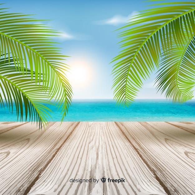 葉と木製の床とカラフルな熱帯の背景 無料ベクター