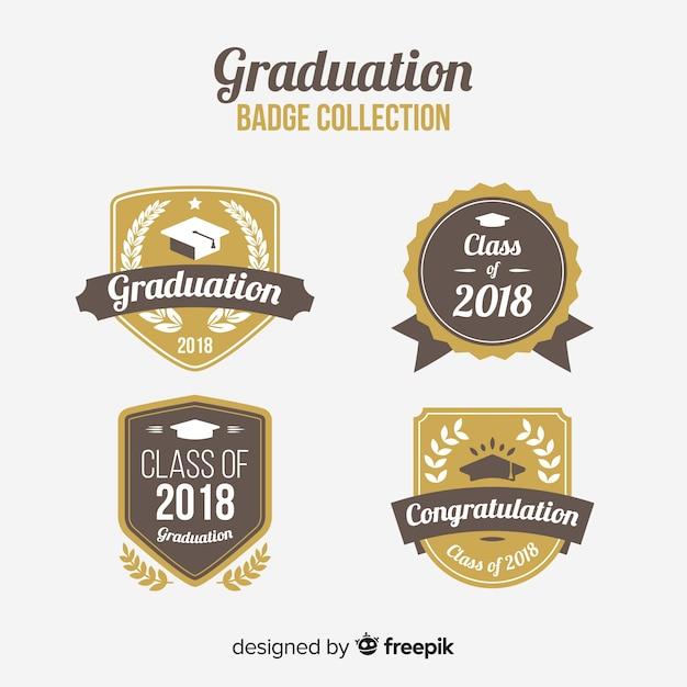 エレガントな卒業バッジのコレクション 無料ベクター