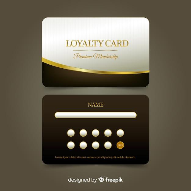 Премиальная карта лояльности с золотым стилем Бесплатные векторы