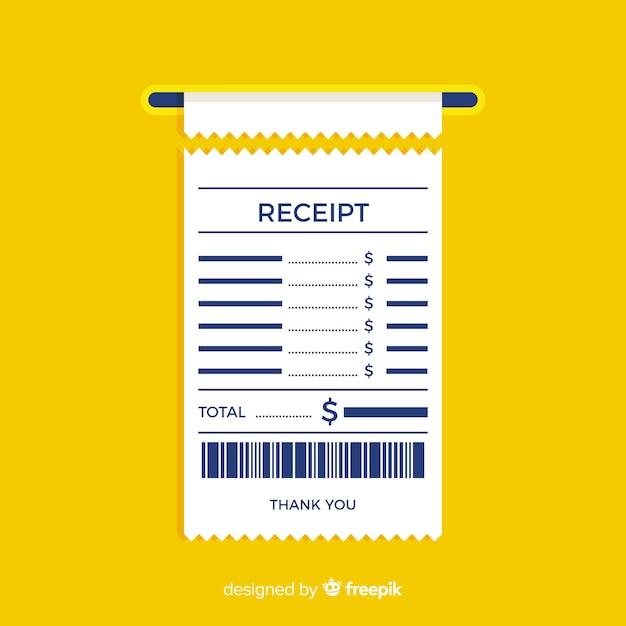 フラットデザインの支払い領収書テンプレート 無料ベクター
