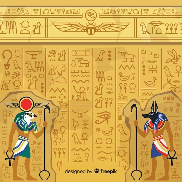 Египетский иероглифический фон Бесплатные векторы