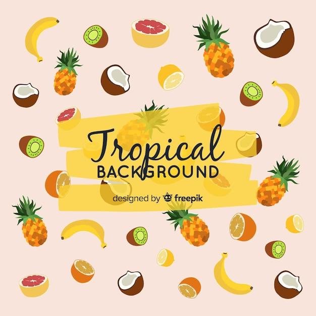 果物とカラフルな熱帯の背景 無料ベクター