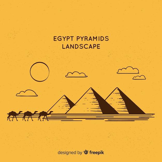 フラットデザインの風景があるエジプトの背景 無料ベクター