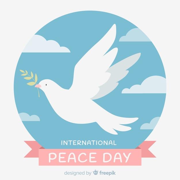 Концепция международного мира с белым голубями Бесплатные векторы