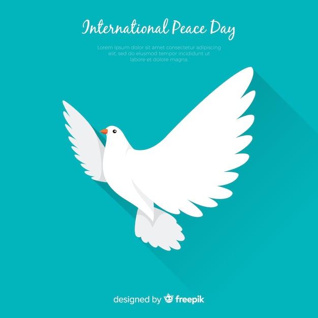 白い鳩と国際平和の日のコンセプト 無料ベクター