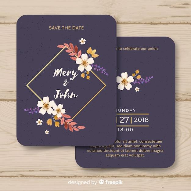 ゴールデンラインと水彩の結婚式の招待状のテンプレート 無料ベクター