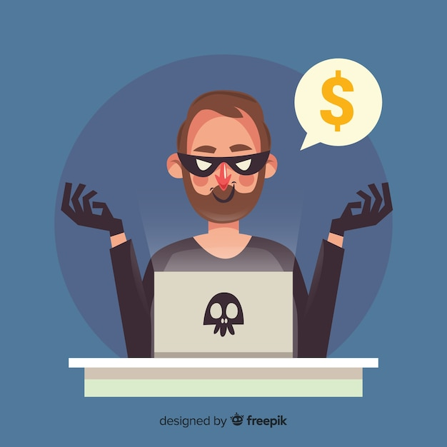 フラットデザインの匿名ハッカー概念 無料ベクター