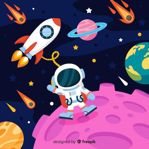 フラットデザインの現代宇宙飛行士キャラクター 無料ベクター