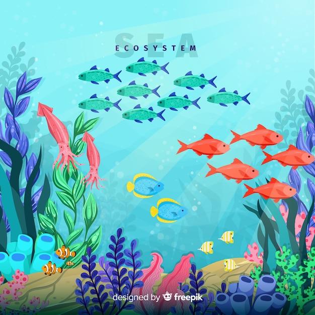 海の生態系の背景 無料ベクター