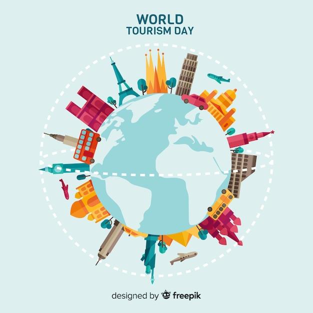 フラットデザインの世界観光日のコンセプト 無料ベクター