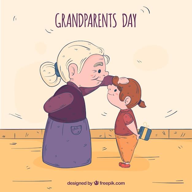 手描きの祖父母の日の構成 無料ベクター