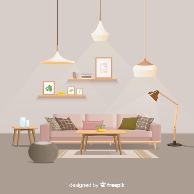 Современное домашнее украшение интерьера с плоским дизайном Бесплатные векторы