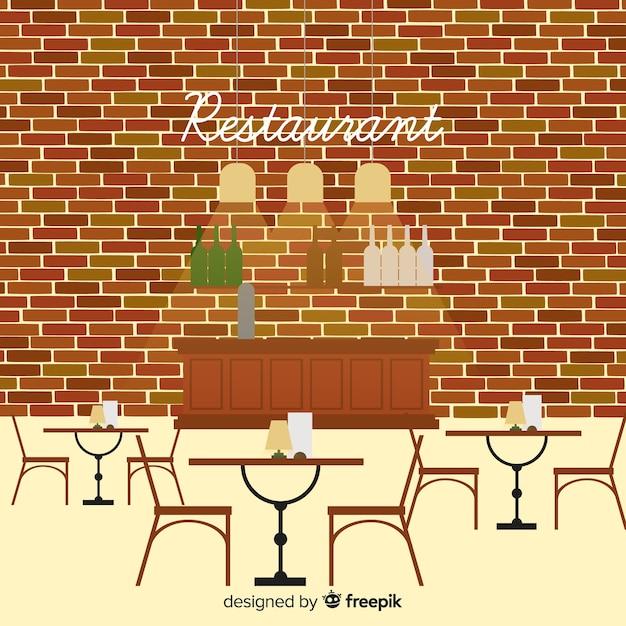 フラットデザインのモダンなレストランインテリア 無料ベクター