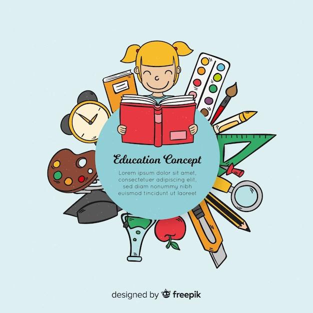 カラフルな手描きの教育概念 無料ベクター