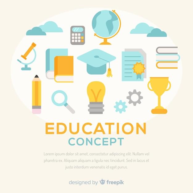フラットデザインのカラフルな教育コンセプト 無料ベクター