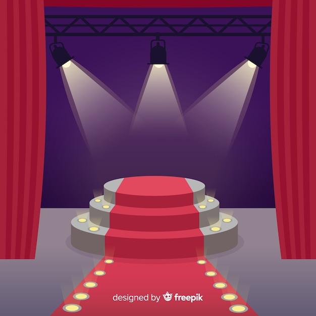 照明付きステージ演壇の背景 無料ベクター