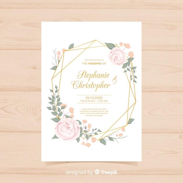 ゴールデンラインと素敵な花嫁の結婚式の招待状 無料ベクター