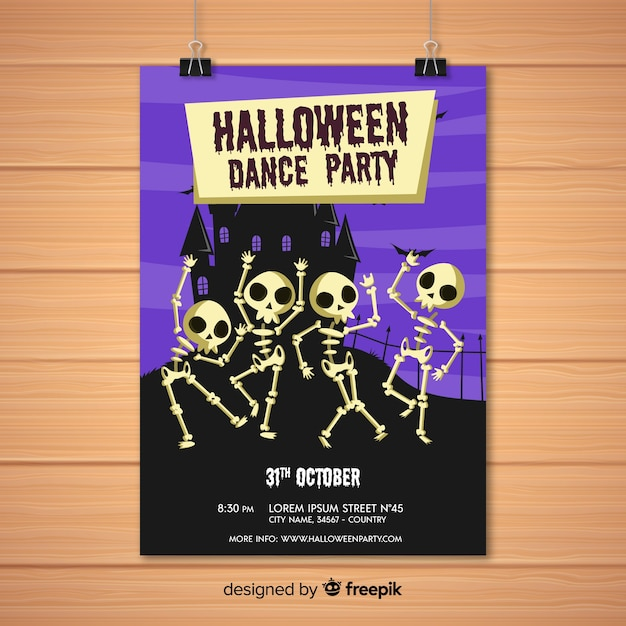 ハロウィンパーティーのポスター 無料ベクター