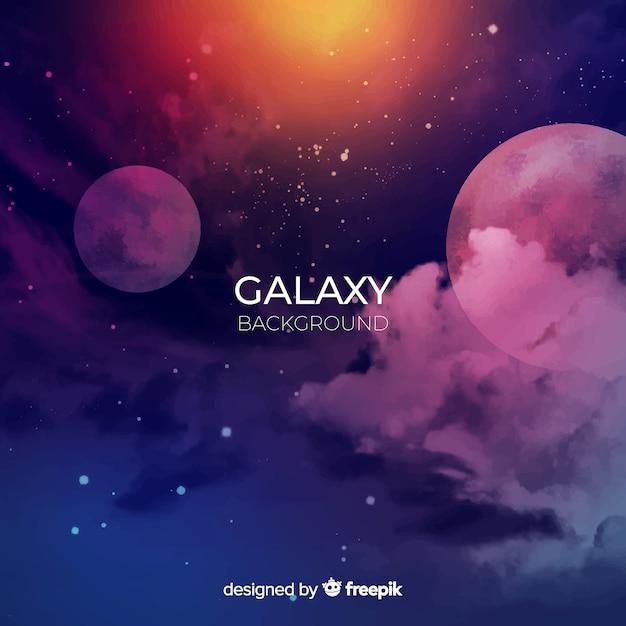 カラフルな水彩銀河の背景 無料ベクター