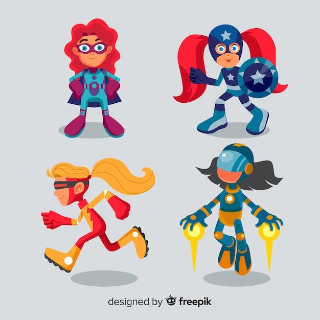 Набор смешных супергероев Бесплатные векторы