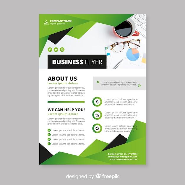 フラットデザインのエレガントなビジネスチラシテンプレート 無料ベクター