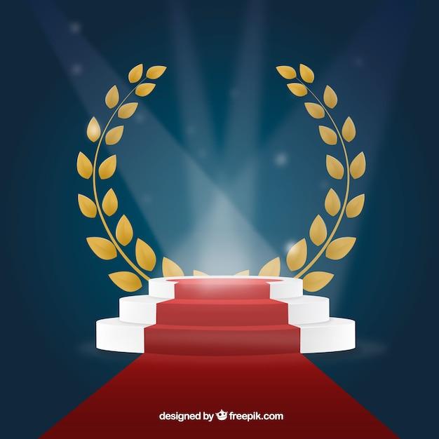 照明付きステージの表彰台の背景 無料ベクター
