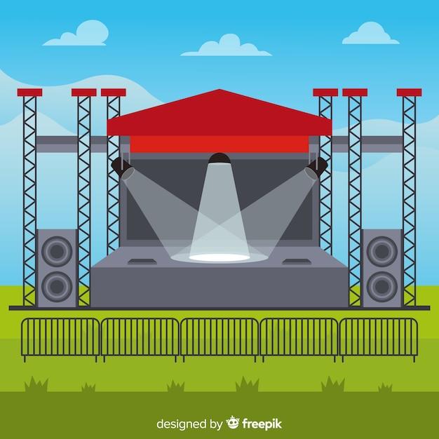 フラットデザインの照明付き屋外ステージの背景 無料ベクター